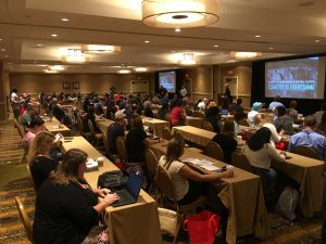 Color photo of the audience at the kickoff at CAST2017